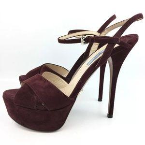 PRADA Platform High Heel Ankle Strap Sandals